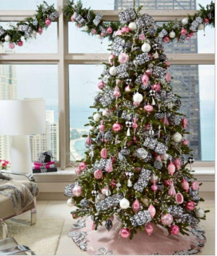 Christmas Pink Black Art Deco Ornaments Wilshire Christmas Tree Silver Christmas Tree Decorations Pink Christmas Tree Pink Christmas Decorations