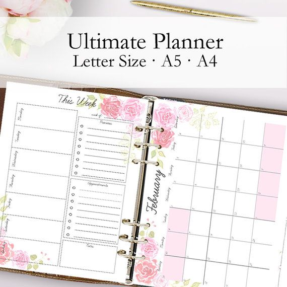 2017 Planner, Printable Calendar 2017, Daily Planner Pages, Weekly