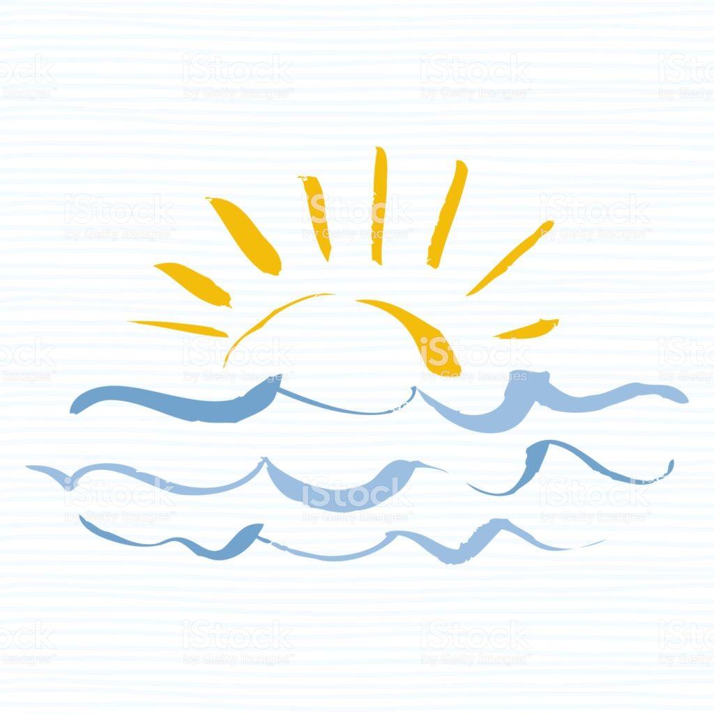 sonne und meer symbol handgemachte grunge ikone isoliert auf weissem hintergrund sonnenaufga illustration malen zeichnen einfache sachen zum pokal vektor dartscheibe