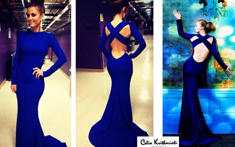 2014 Sexy Robe De Soiree Evening Dress High Neck Long Sleeve Criss Cross Backless Royal Blue Mermaid Prom Dresses - 1