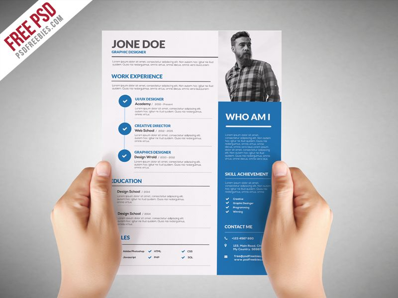 Freebie  Graphic Designer Resume Template Free PSD on Behance - visual designer resume