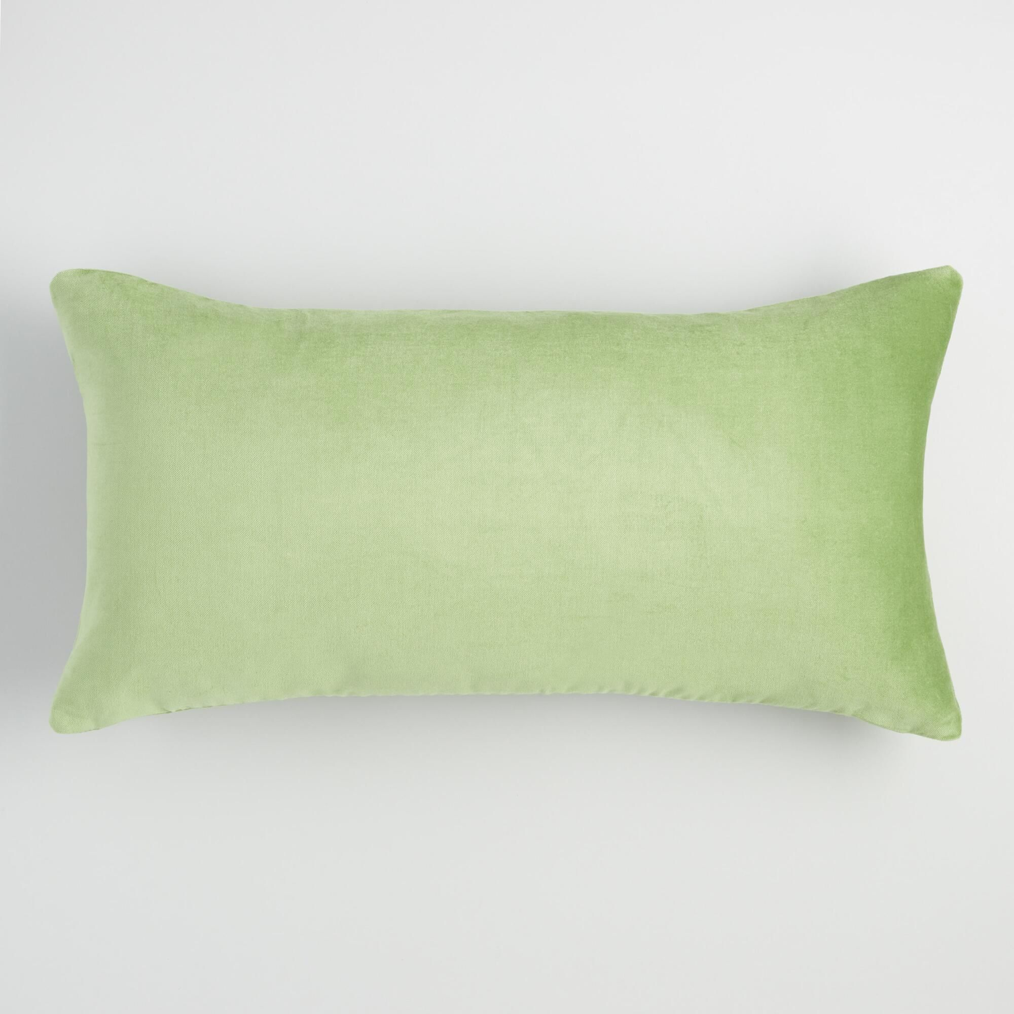 Sage Green Velvet Lumbar Pillow Cotton By World Market