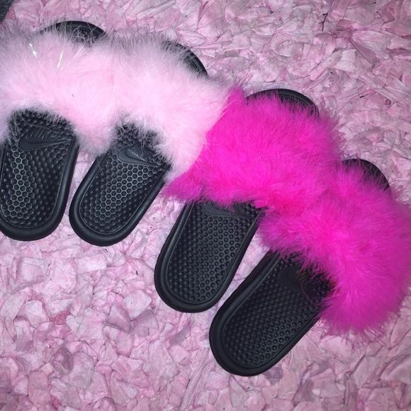 Nike fur slippers Nike slide w/ a colorful fur of your choice , we also do custom slippers for extra . We have awesome sales on Wednesday slippers for $15 Nike Shoes Slippers