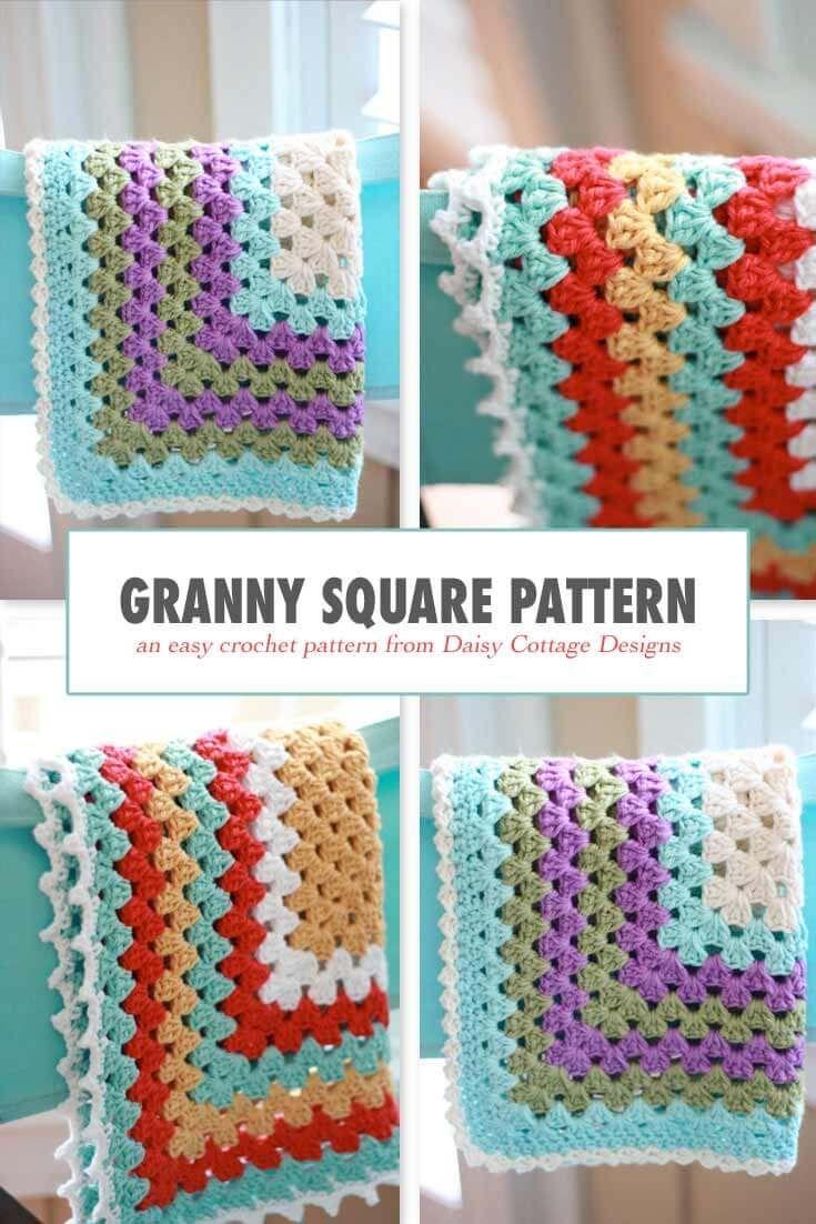 Granny Square Pattern - A free crochet pattern | Pinterest | Decken ...