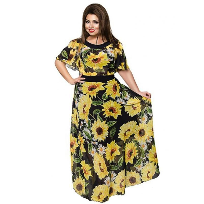 eb90b27fe8 Plus Size Chiffon Long Dresses Sunflower Floral Print in 2019 ...