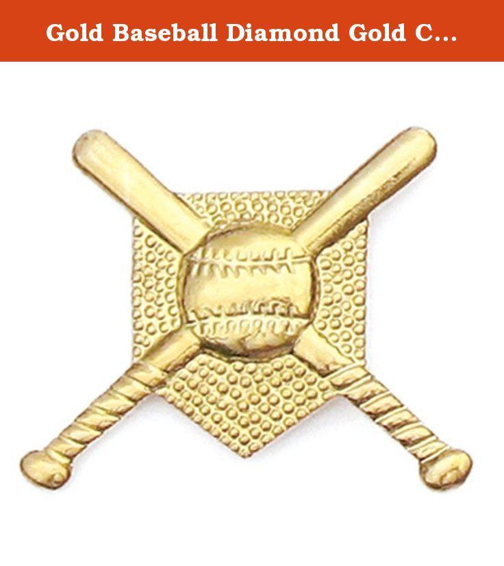 Gold Baseball Diamond Gold Chenille Sports Lapel Pin