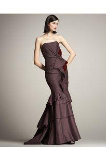 a5f1f23232c Carolina Herrera Ruched Taffeta Strapless Gown