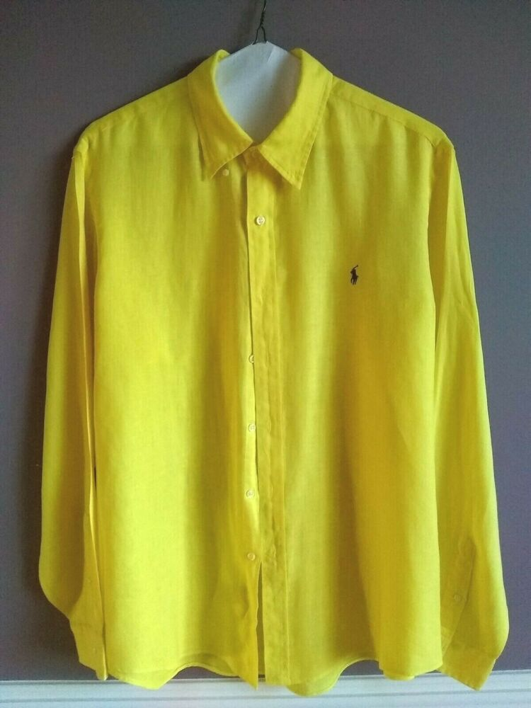 d8b28a74 Polo Ralph Lauren Men XL Bright Yellow 100% Linen Button Down Shirt ...