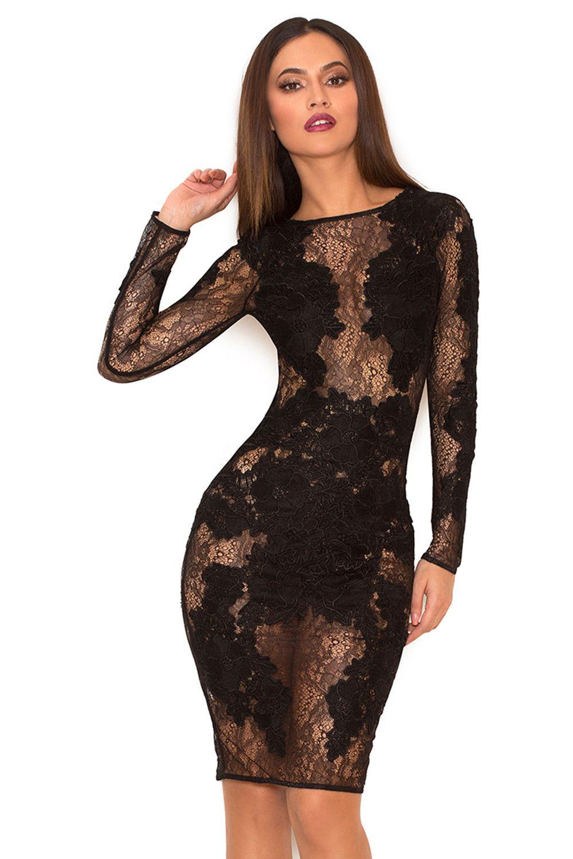 22433c6d85b9 Nolita Black Stretch Lace Long Sleeve Dress | trend | Dresses, Lace ...