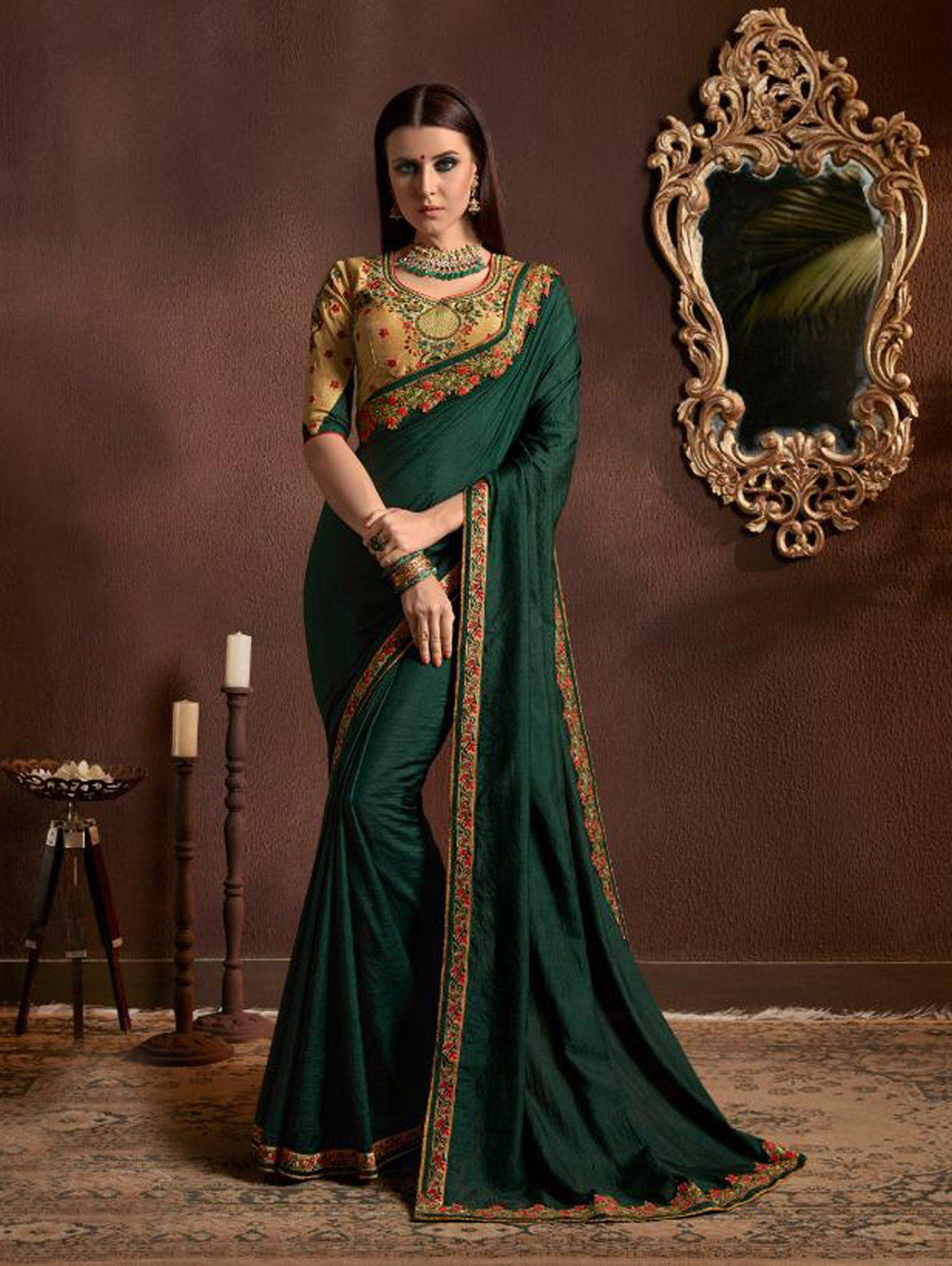 1faf9c5c2c16ac Buy Dark Green Chiffon Georgette Plain Saree with Designer Blouse -  SAAP27012