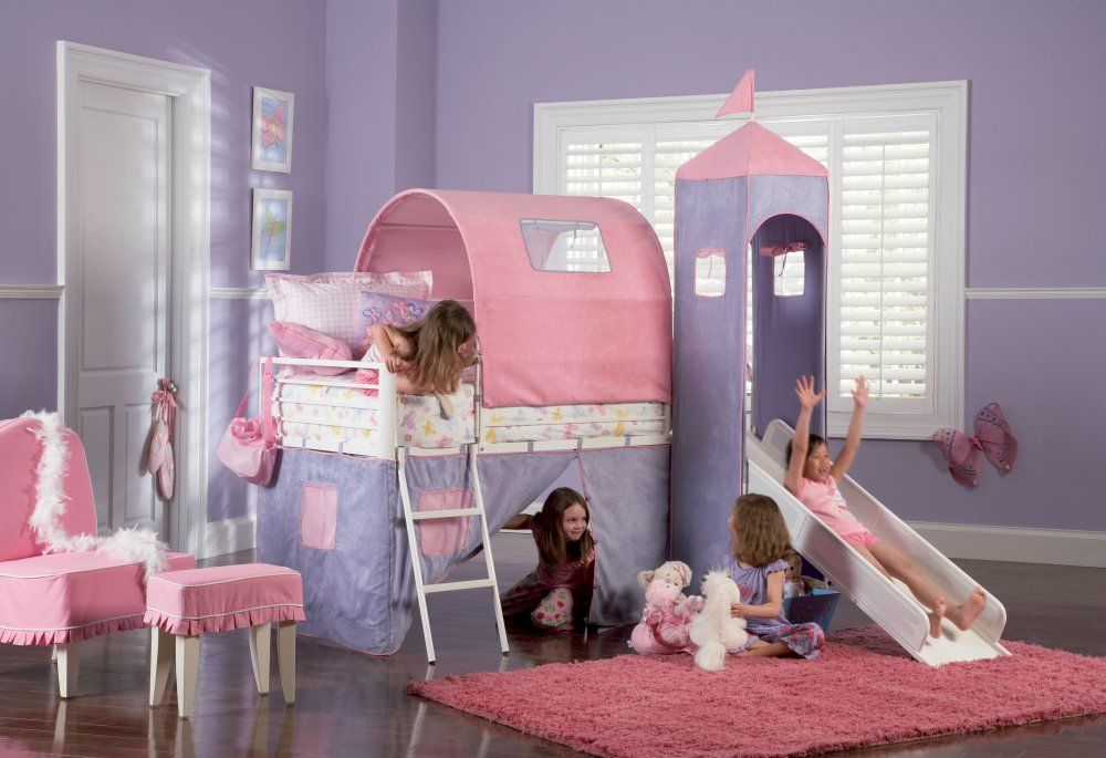 Powell Princess Castle Twin Size Tent Bunk Bed With Slide Bunk