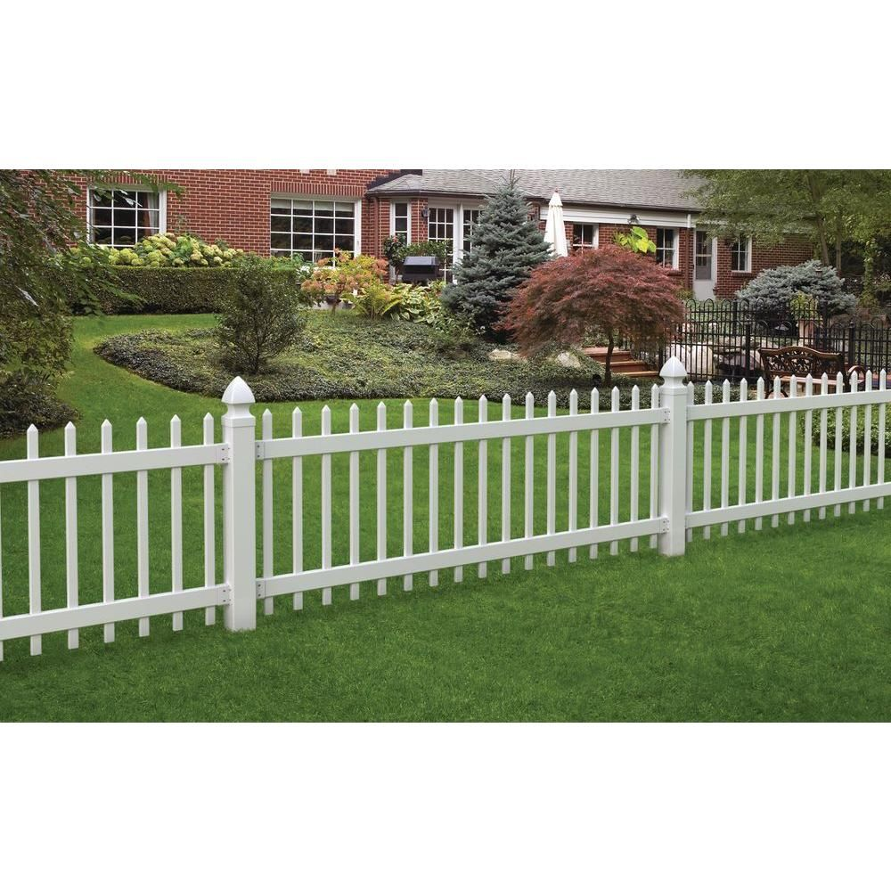Veranda Chelsea 3 Ft H X 8 Ft W White Vinyl Fence Panel 116083 The Home Depot Vinyl Fence Panels White Vinyl Fence Picket Fence Panels
