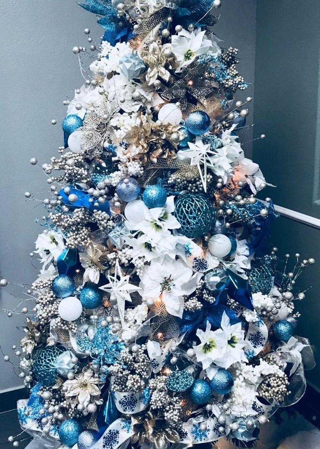 Awesome 46 Elegant Blue White Christmas Decor Ideas Blue Christmas Tree Decorations Colorful Christmas Tree Blue Christmas Decor