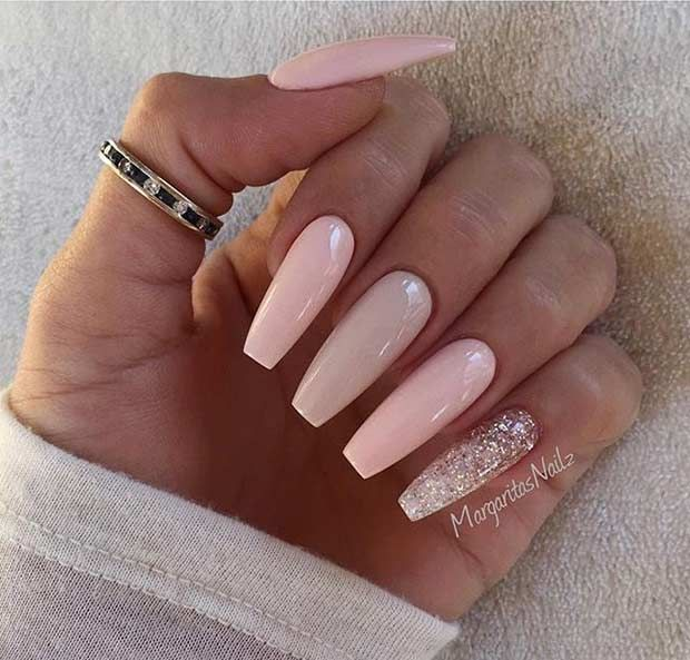 Pink and Neutral Coffin Nail Design with a Pop of Glitter - Pink And Neutral Coffin Nail Design With A Pop Of Glitter Nails