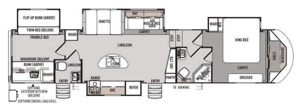Forest river campers bunkhouse king bed and 2 bath 5th for Bunkhouse floor plans