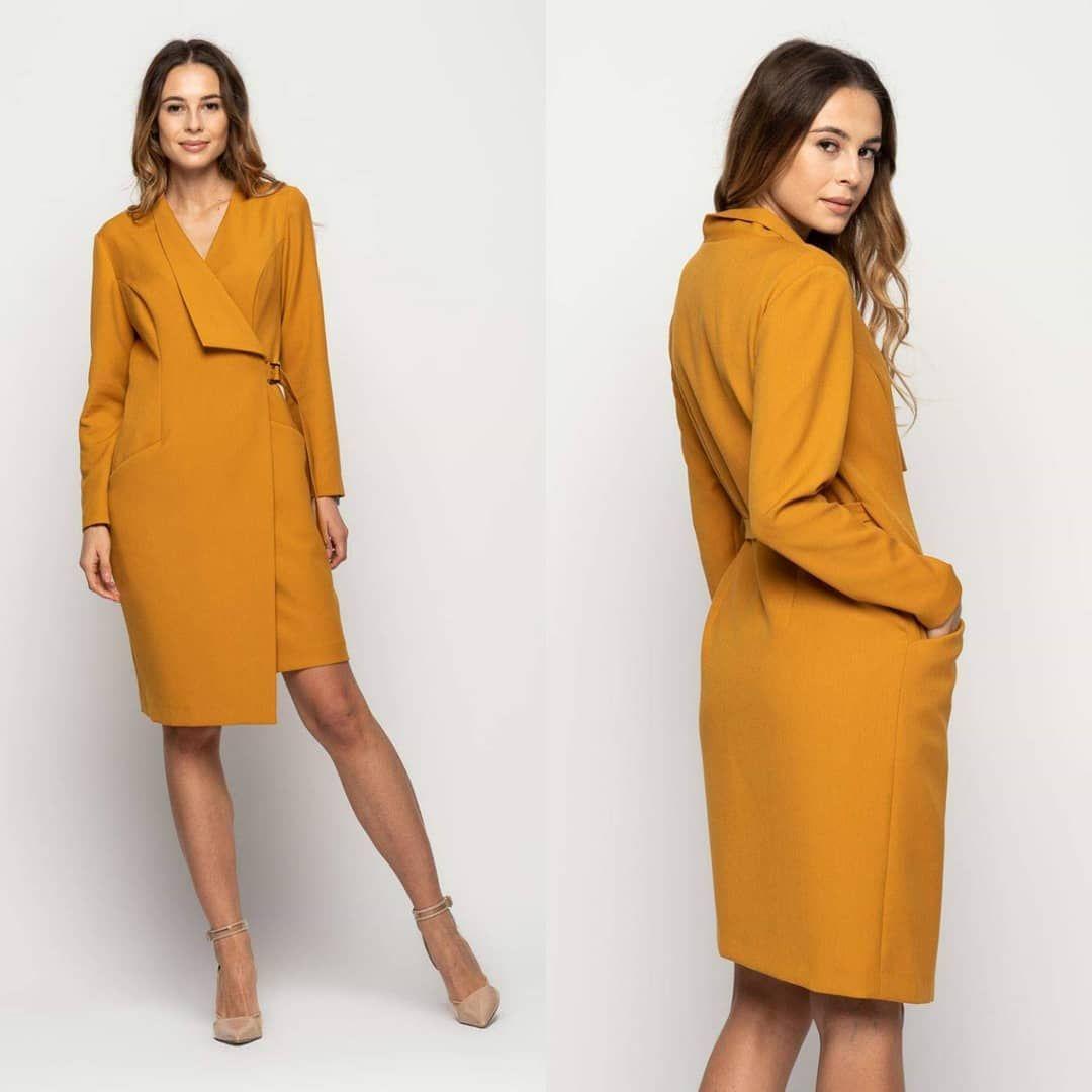 Piekna Kopertowa Sukienka W Kolorze Musztardowym Hitem Jesieni 2019 Index C4 306 10 Www Bit Ly 2qsb9tm Bialcon Moda Dresses For Work Fashion Dresses
