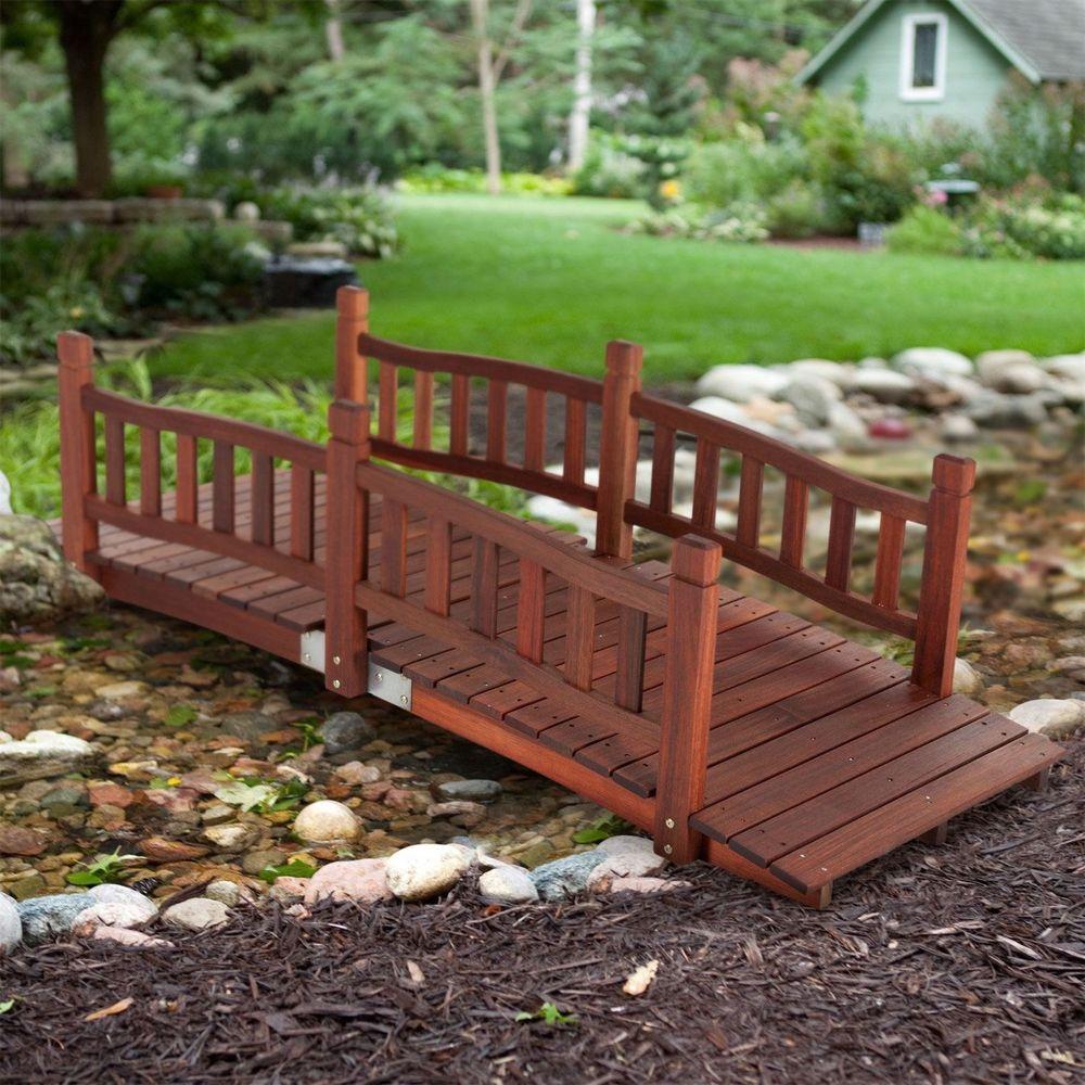 Wood Garden Bridge 6 Ft Wooden Outdoor Backyard Pond Walkway Red Oil Finish  #CoralCoast