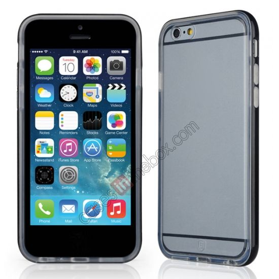 Baseus Transparent Design TPU and PC Back Case Cover for 4.7 iPhone 6 - Black US$14.69