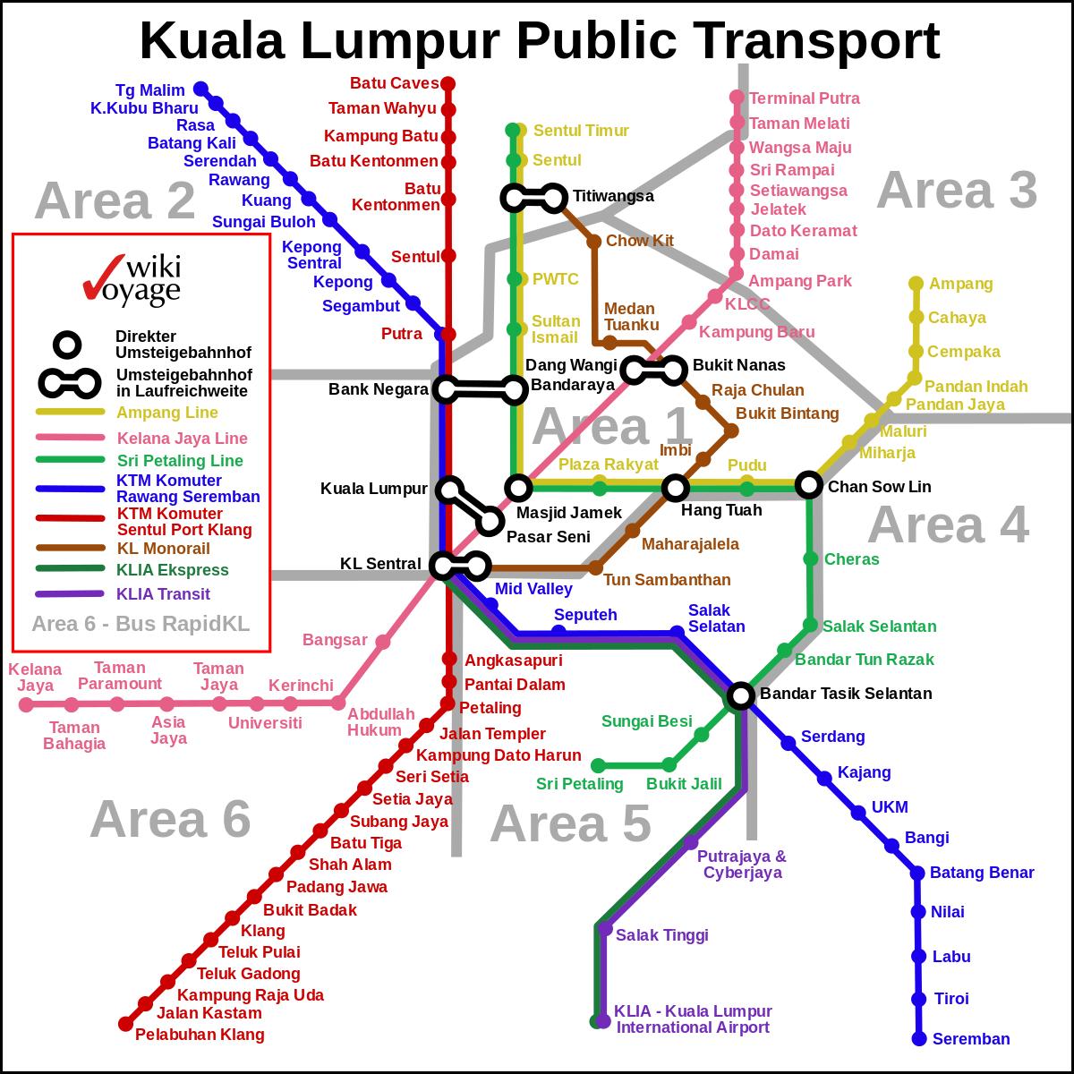 Kuala Lumpur Malaysia Map: Kuala Lumpur Public Transport
