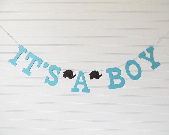 Elephant banner is perfect for celebrating a new baby boy! Banner is handmade to order in your custom color selections and will be shipped