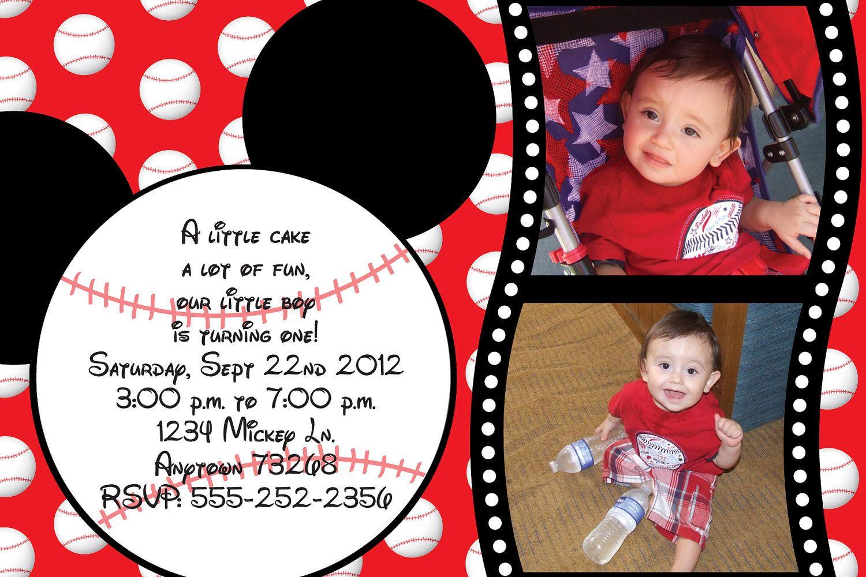 Custom Mickey Mouse Baseball Invitation (birthday baby shower etc ...