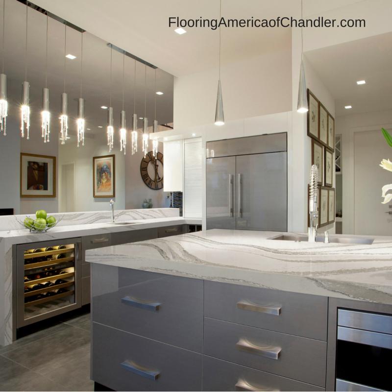 White Kitchen Cabinets Upkeep: Cambria's Brittanicca Quartz Slab Countertop