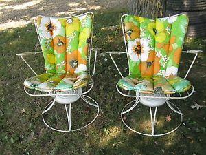 Pair Vintage Homecrest Swivel Rocker Chair Mid Century Modern