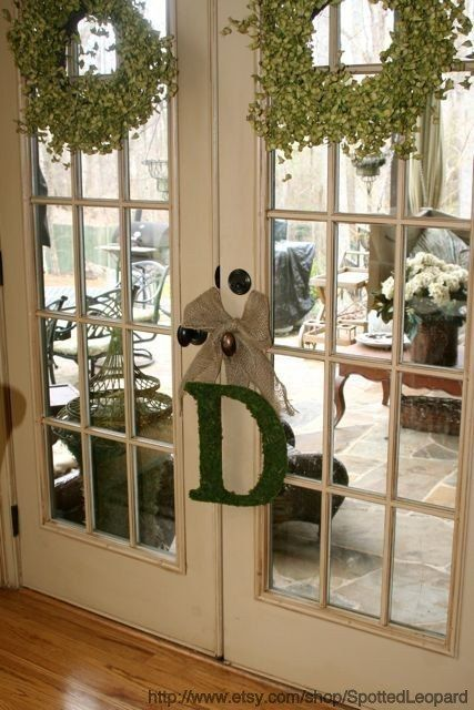 Moss Covered 12 inch Wedding Church Door Initials Monogram Letters & Moss Covered 12 inch Wedding Church Door Initials Monogram Letters ...