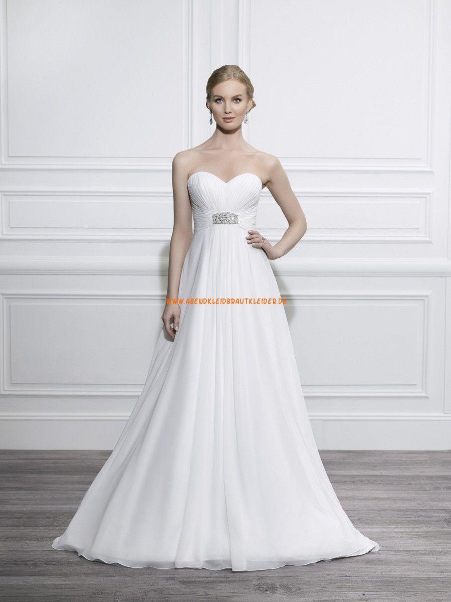 Moonlight Tango A-linie Schlichte Lange Brautkleider aus Chiffon mit ...