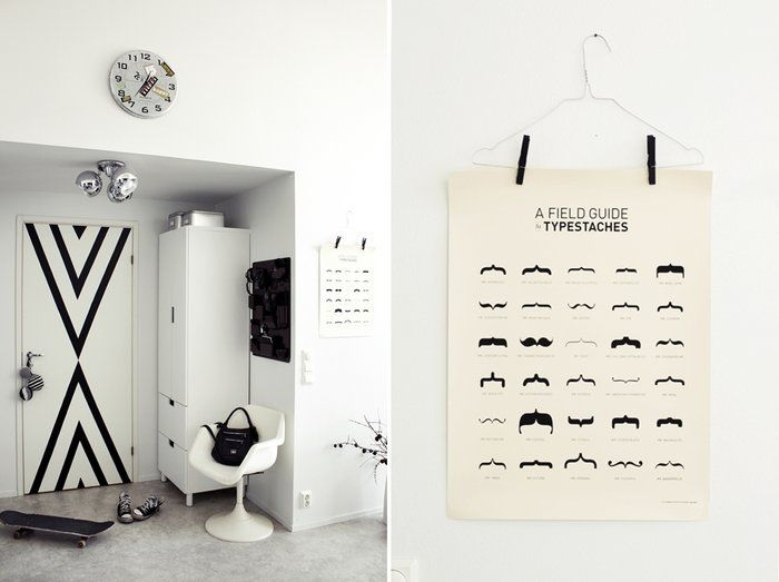 Great graphic on the white door and good use of a kids Ikea wardrobe