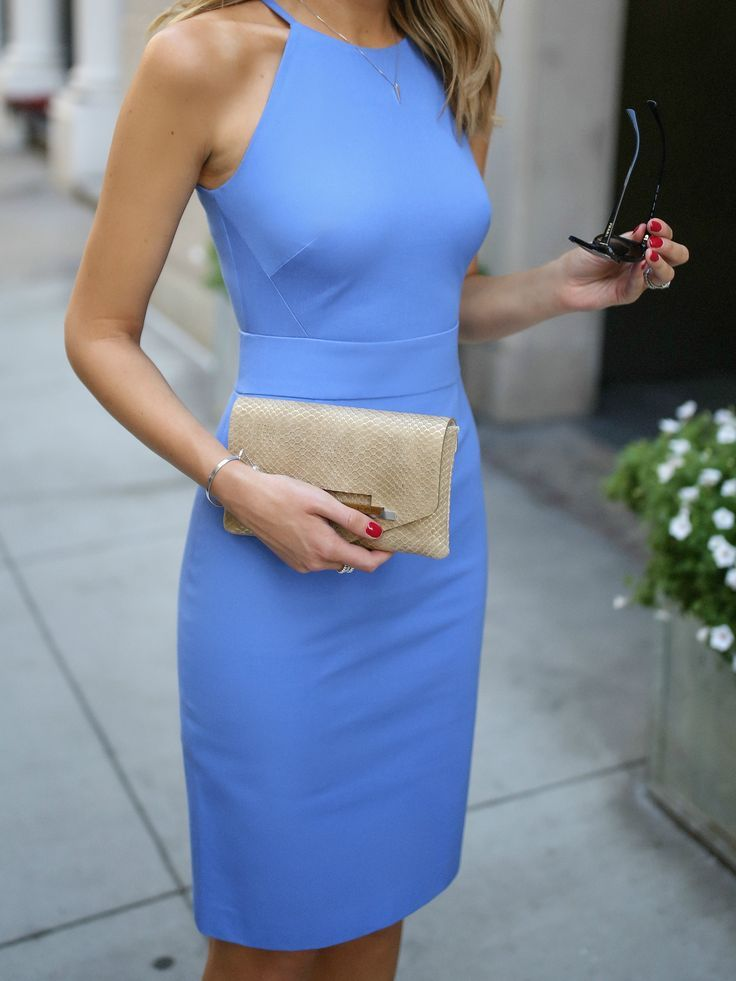 Periwinkle blue classic sleeveless sheath dress, cinched waist + gold  clutch, nude strappy sandals, wavy hairstyle, fashion blogger  Banana  Republic  da2a30274a5