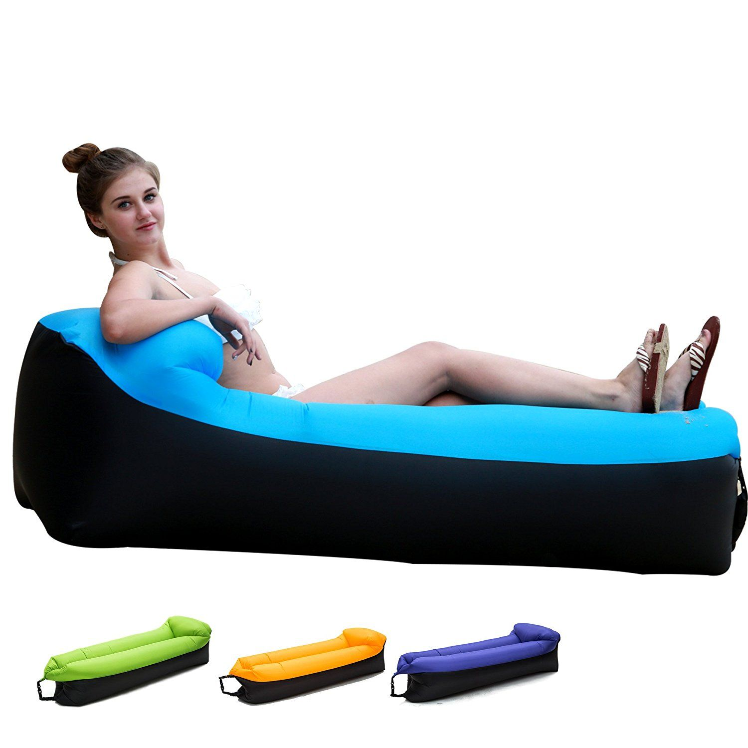 Inflatable Lounger Chair With Portable Carry Bag For Various Uses Inflatable Lounger Blue Sofa Loungers Chair