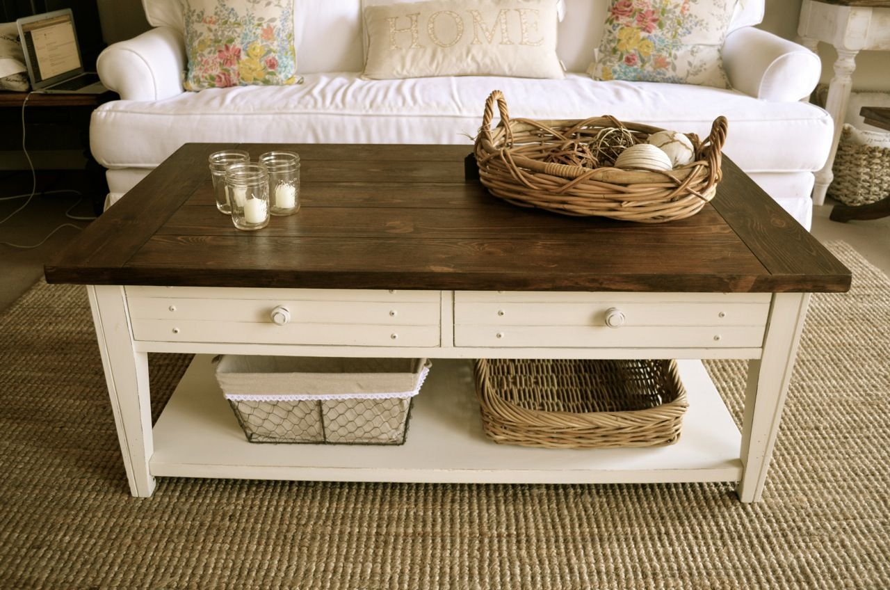 Distressed Antique White Coffee Table By Analia Pastori