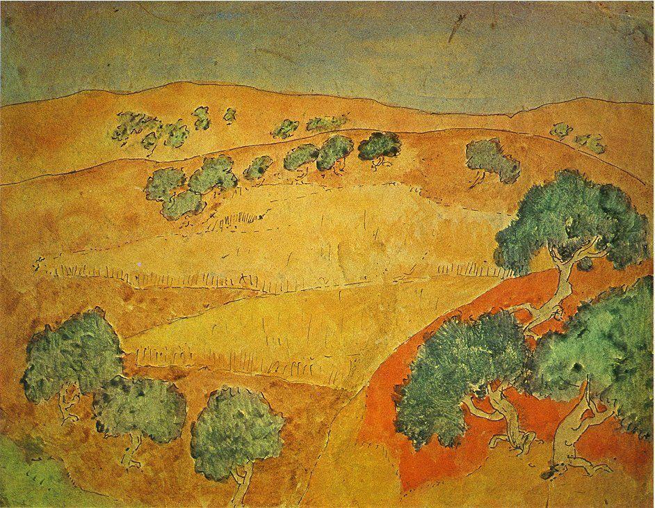 """Dan Miller on Twitter: """"Summer landscape Pablo Picasso, 1902 Shared via #WikiArtApp https://t.co/z9BPri26gd https://t.co/KbD4BBZ6RN"""""""