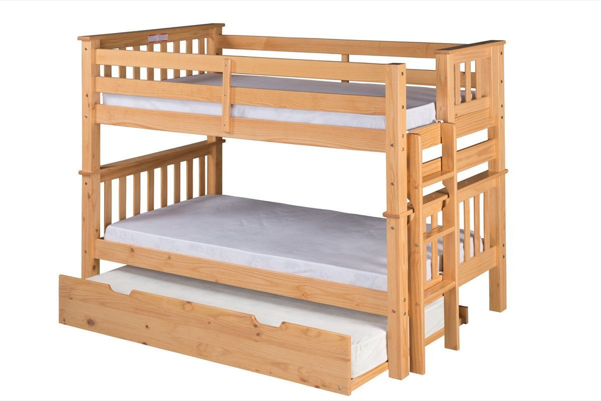 santa fe mission low bunk bed twin over twin - bed end ladder
