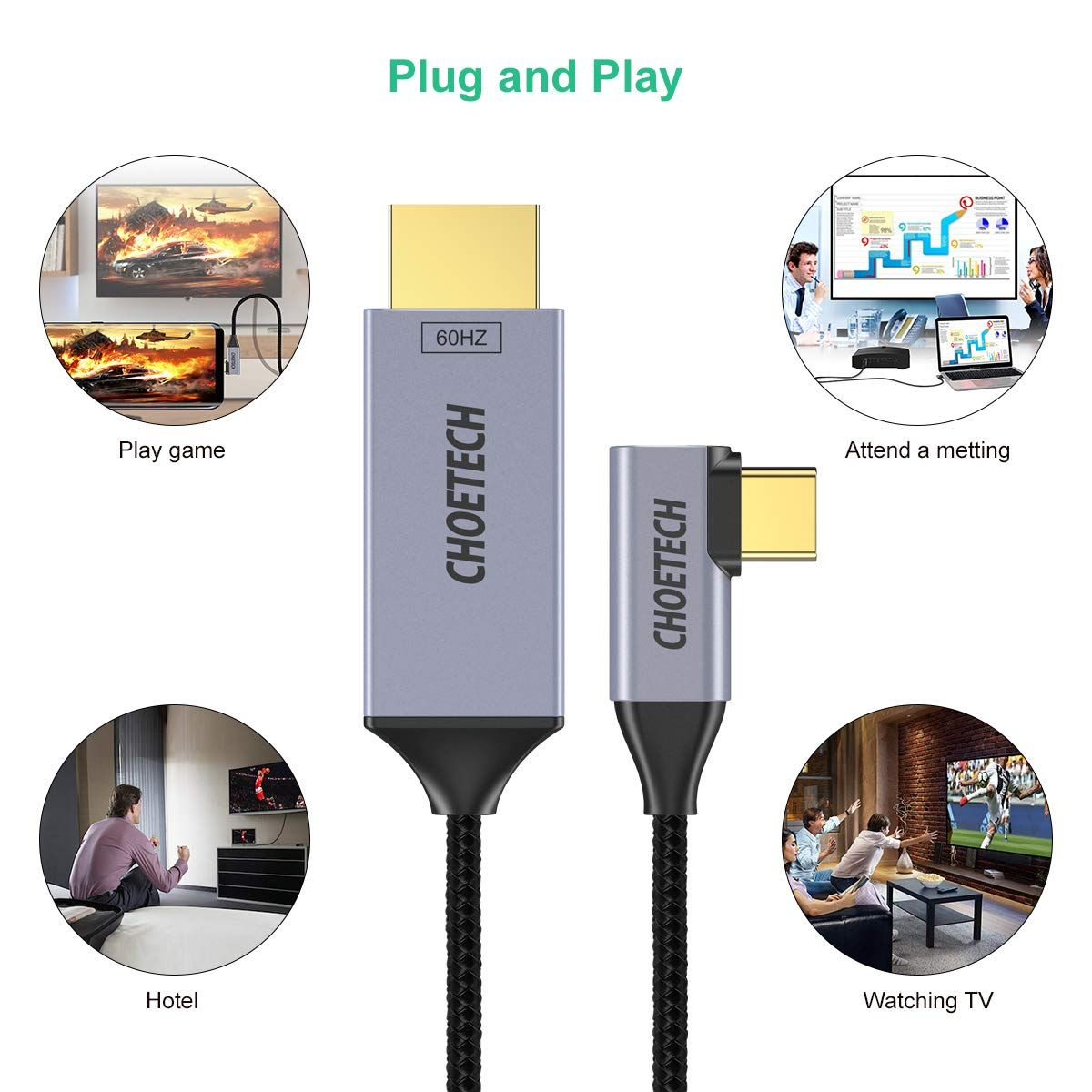 6Ft USB Type-C to HDMI Braided Adapter 3 CHOETECH USB C to HDMI Cable4K@60Hz