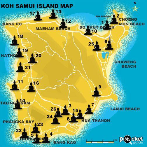 Koh Samui island Temples Maps By Koh Samui in myPocket island