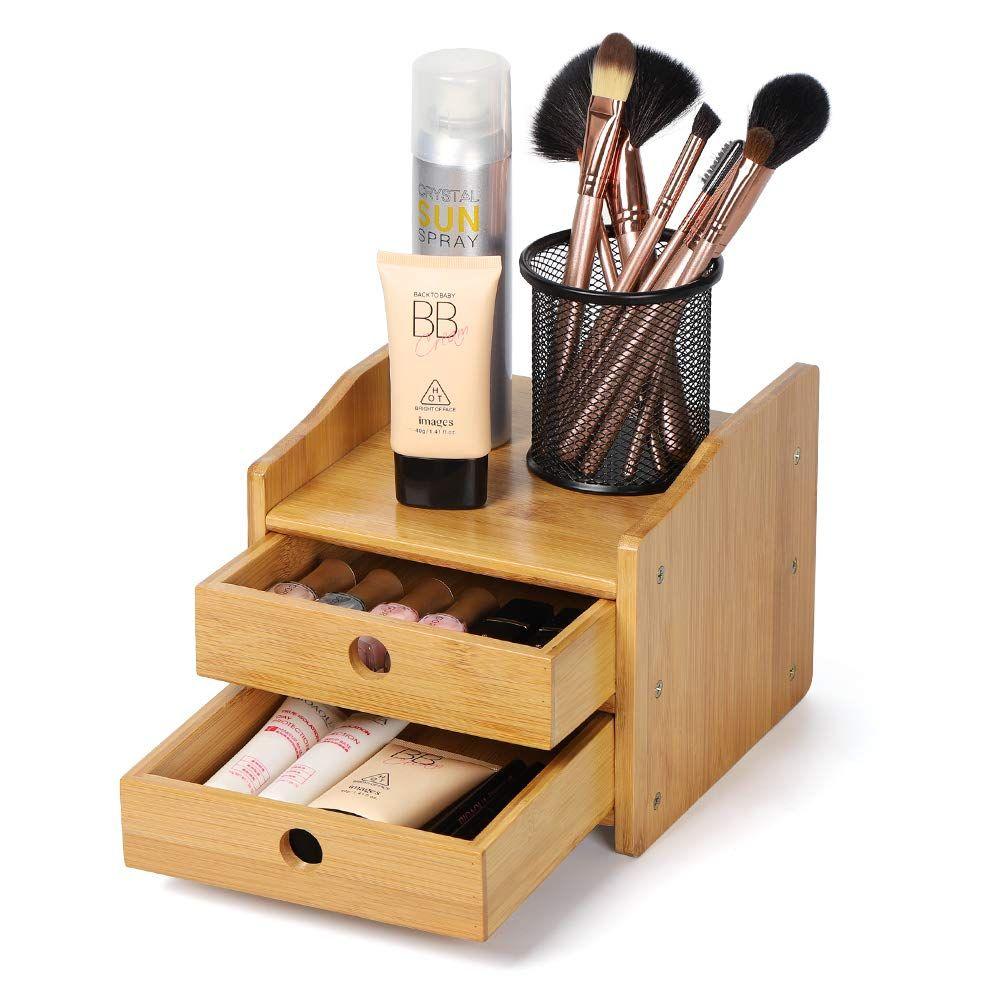 Nex Office Desktop Organizer Bamboo Countertop Storage Shelf With