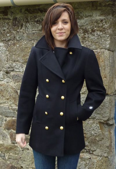 Tailored Breton pea coat in navy with brass buttons at www ...