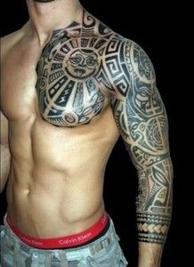 ea4f45e6284cd Tribal tattoo design that covers the whole arm and one side of the chest. #