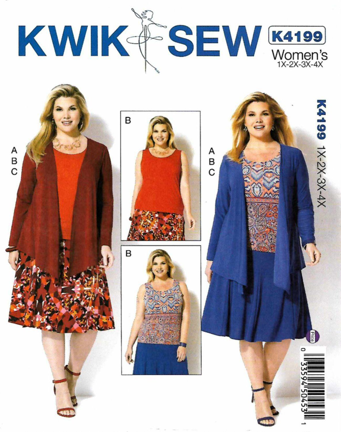 Kwik Sew Sewing Pattern 4199 Womens Plus Size 1X-4X Knit Draped ...