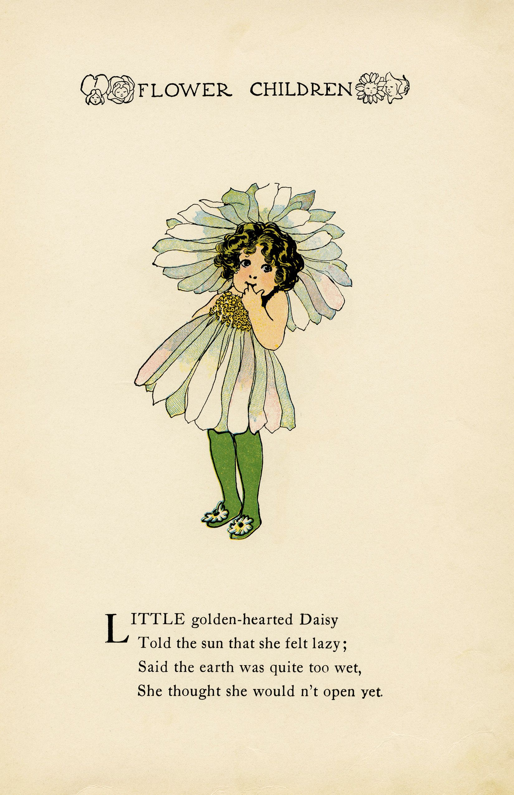 Daisy Flower Child By Elizabeth Gordon Old Book Pages Flower Child Childrens Poetry