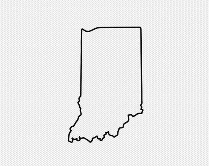 Free Indiana Outline With Home On Border Cricut Or Silhouette Design Vector Image Pattern Map Shape Cutti Indiana Map Map Outline Templates Printable Free