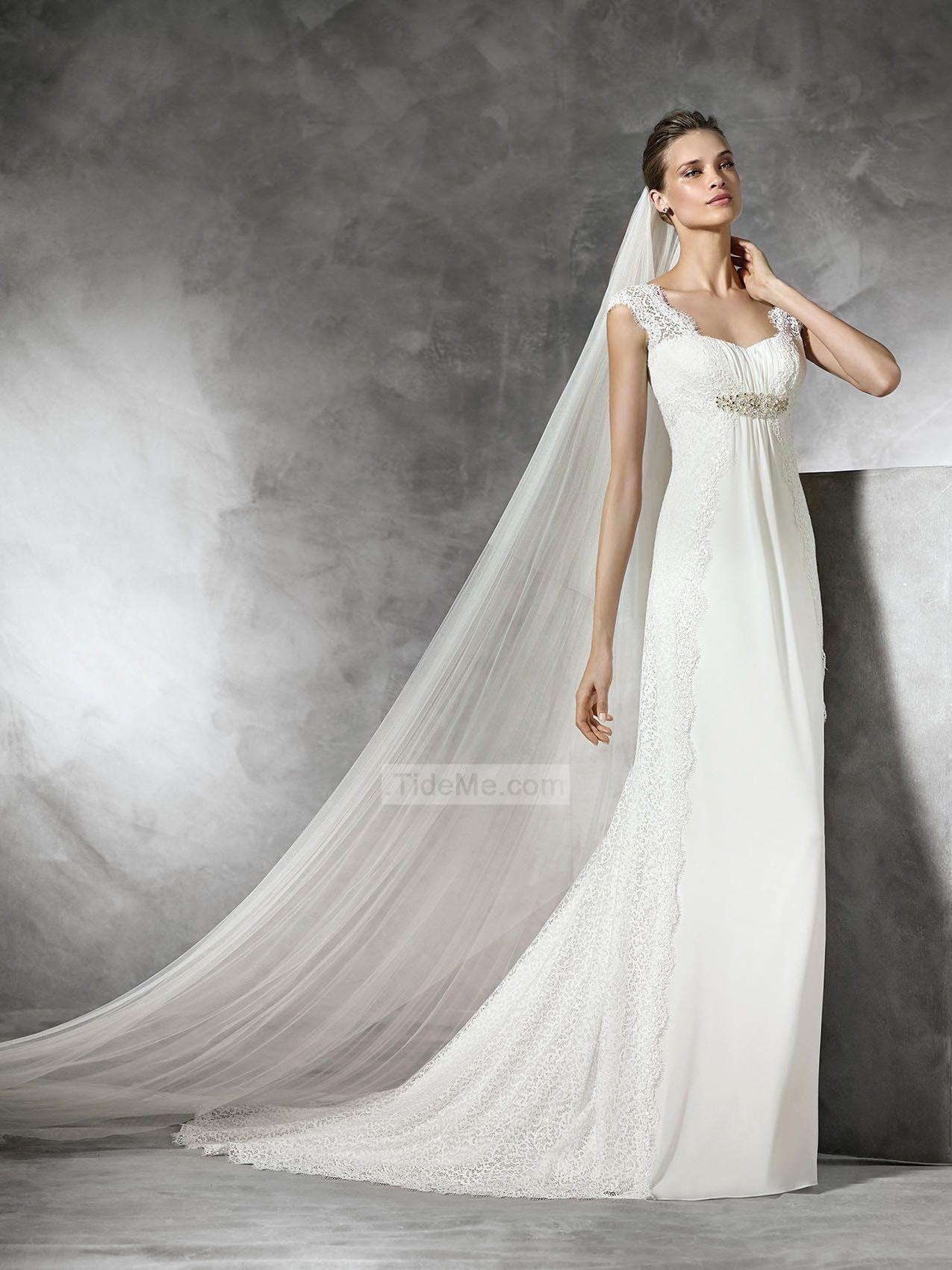 Chiffon wedding dress empire waist  Tank Straps With Empire Waist Lace Chiffon Wedding Dresses PNND