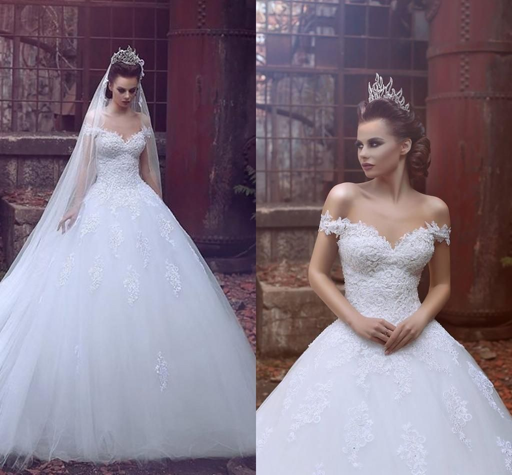 Vestido de noiva off the shoulder vintage lace wedding for Off the shoulder tulle wedding dress