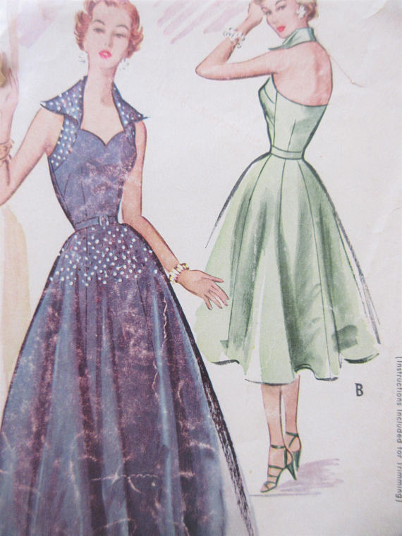 Vintage McCall\'s 9508 Sewing Pattern, 1950s Evening Gown, 1950s ...
