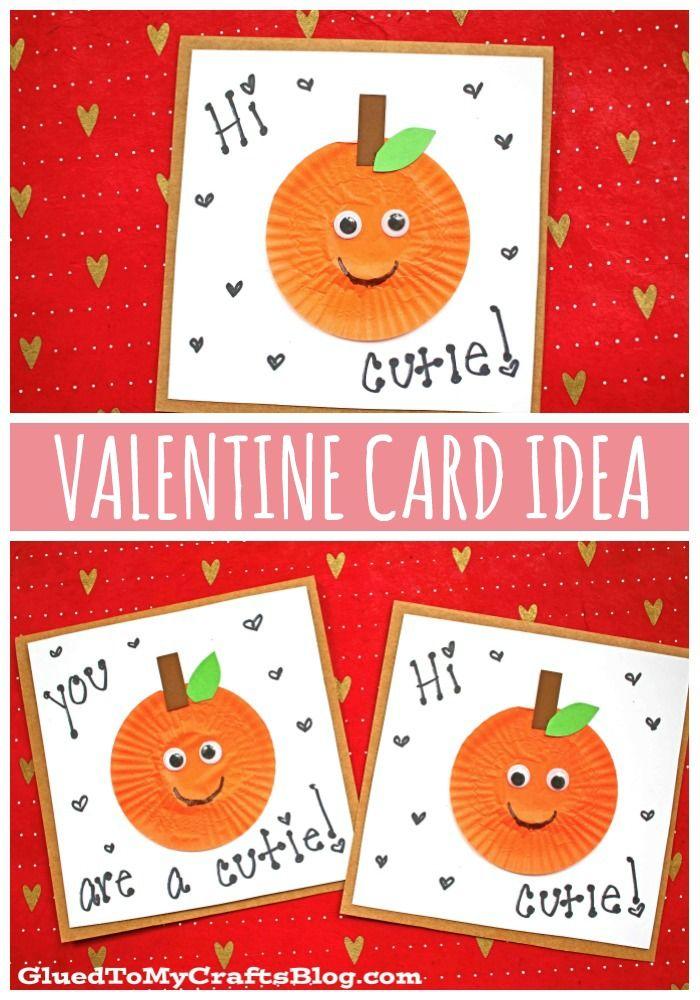 punny cupcake liner orange cutie card for valentine's day