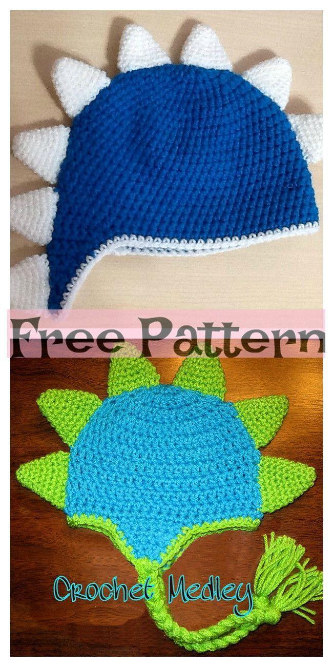 Crochet Dinosaur Spike Hat - Free Pattern - #Crochet #dinosaur #Free #Hat #Pattern #Spike #crochetdinosaurpatterns