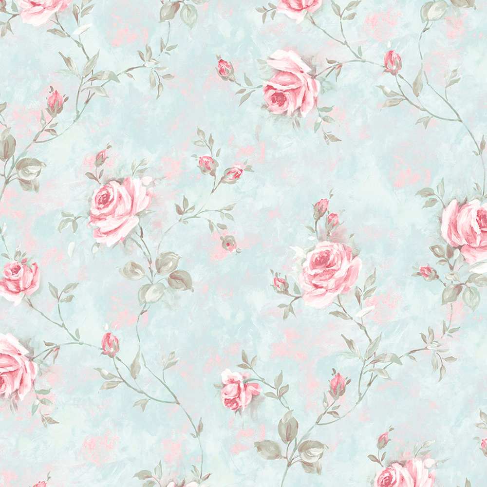 Norwall Wallcoverings Painted Rose Trail Turquoise Pink Wallpaper Bellacor In 2020 Floral Wallpaper Blue Floral Wallpaper Pink Wallpaper