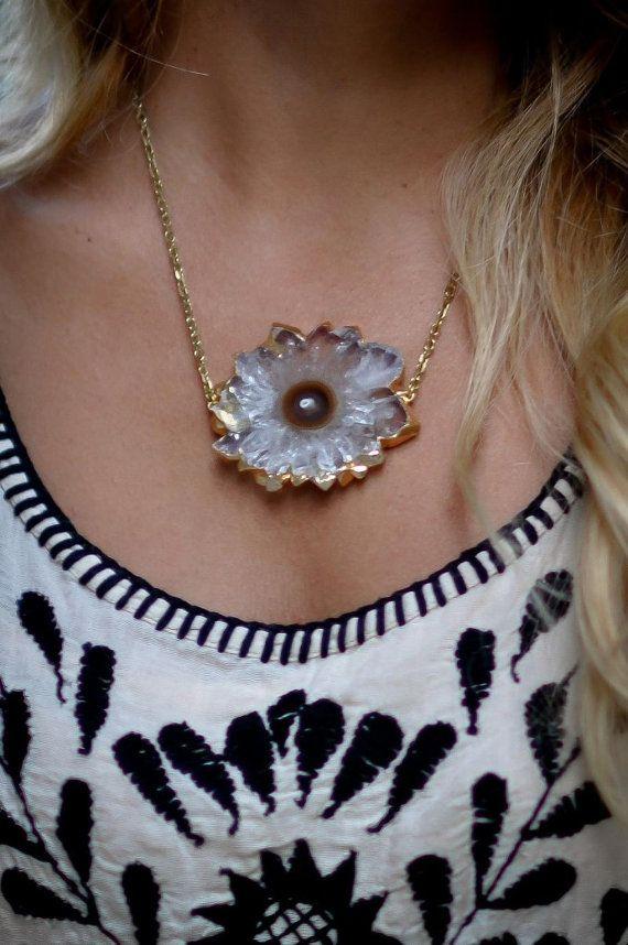 Stalactite Slice Crystal Pendant / Necklace by SimonaMarJewellery